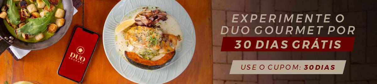 Banner experimente assinatura Duo Gourmet por 30 dias grátis.